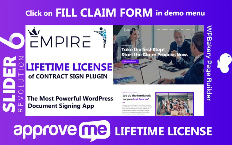 Empire - Professional Document or Contract Signing App WordPress sablon 102212