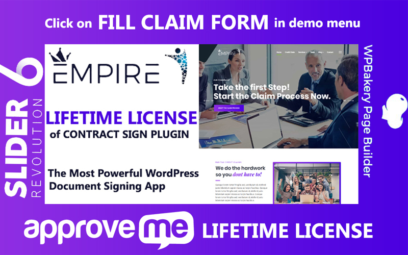 Empire - Professional Document or Contract Signing App WordPress-tema #102212