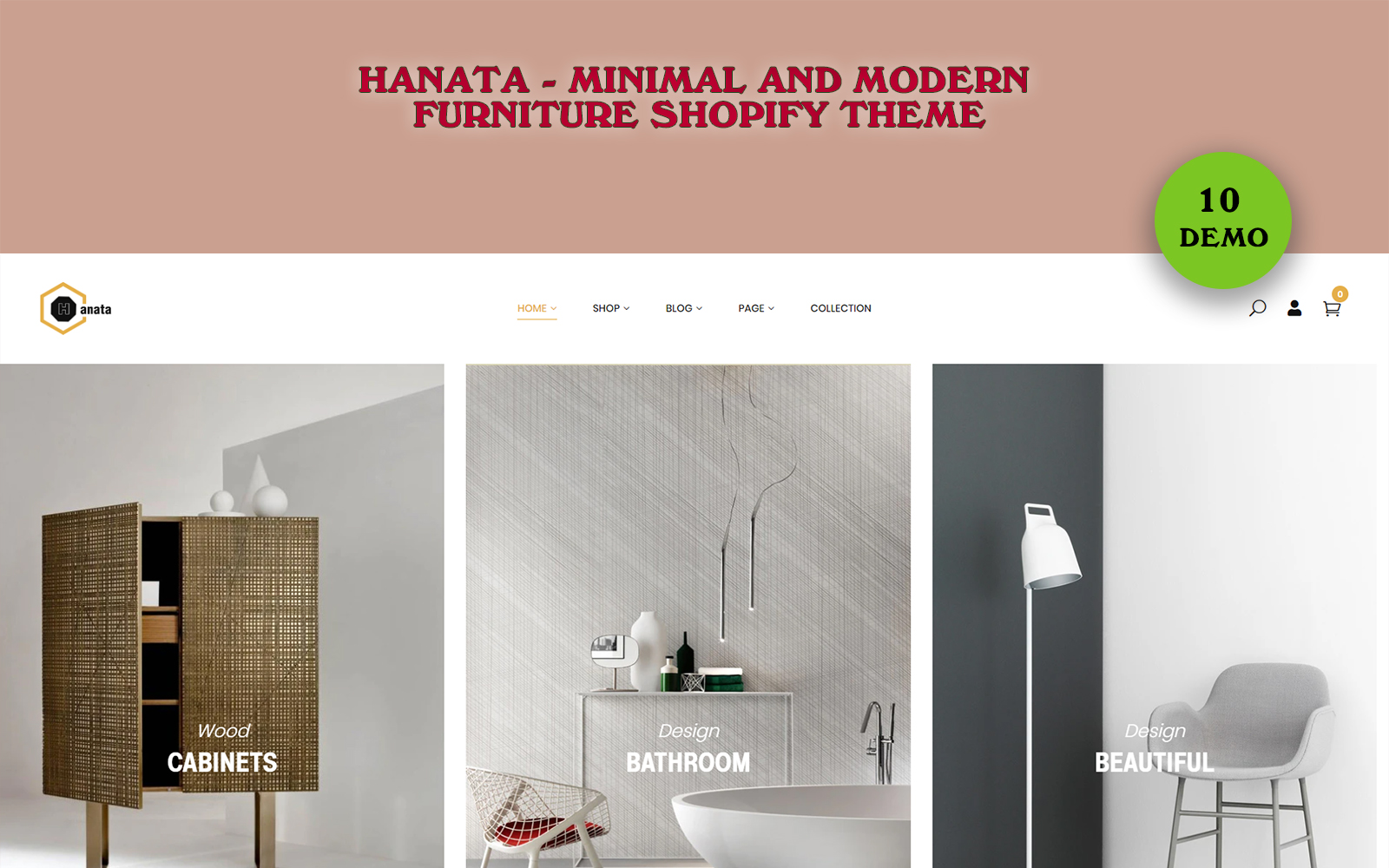 """Hanata - Minimal and Modern Furniture"" 响应式Shopify模板 #102211"