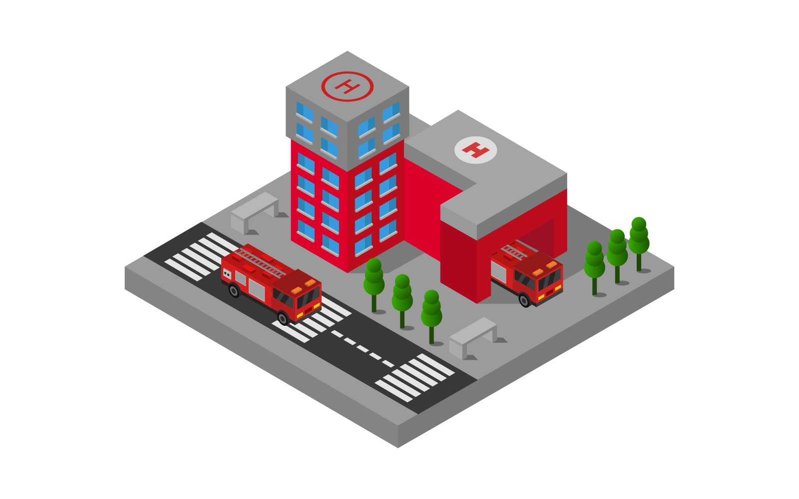 Isometric Fire Station on Background Vector