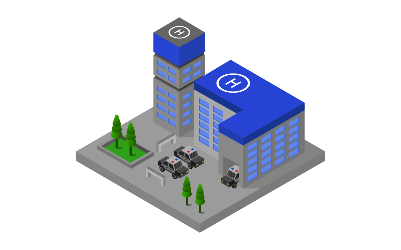Isometric Police  Station on Background Vector
