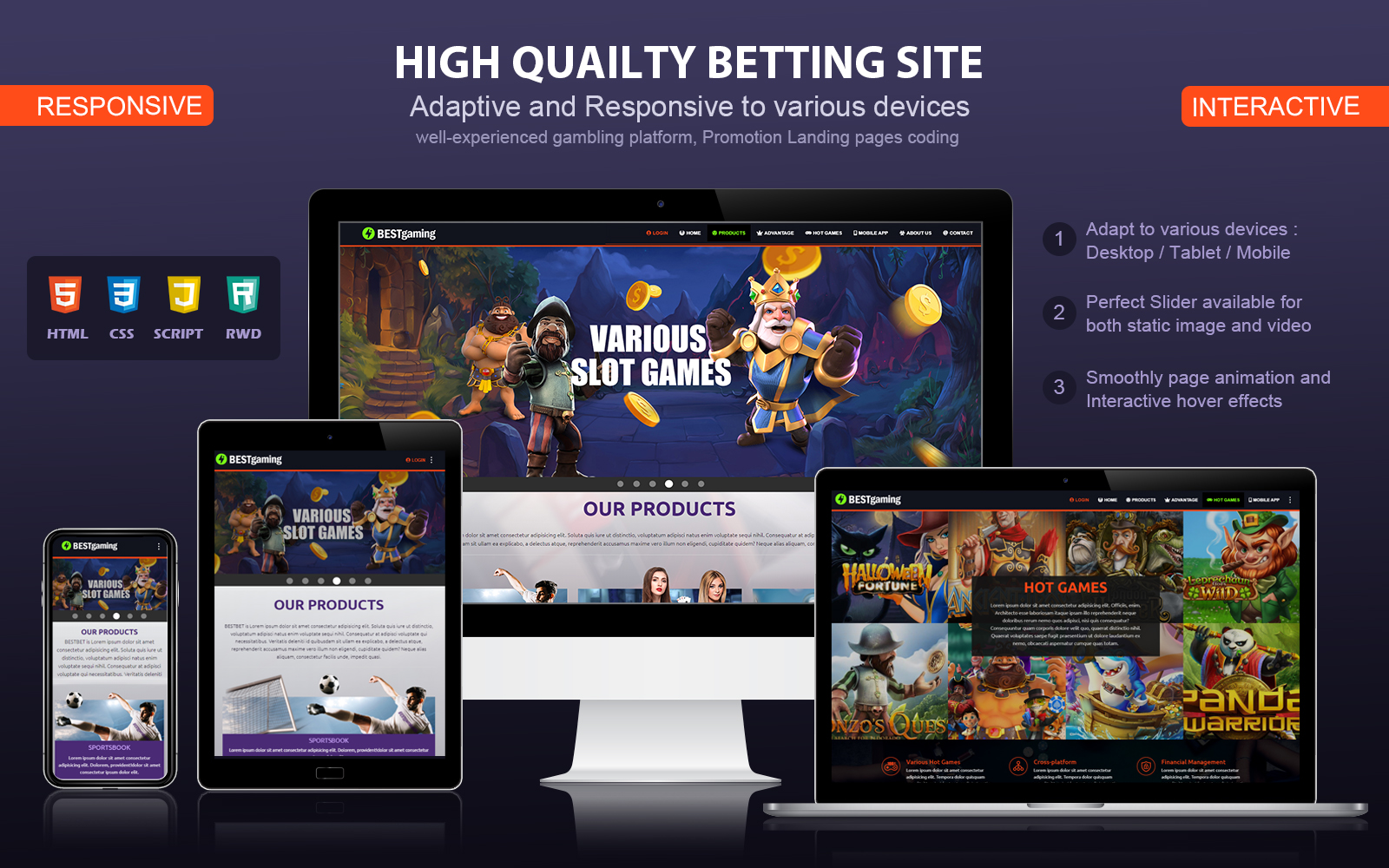 "Modello di Landing Page Responsive #102218 ""Responsive and Interactive Gambling"""