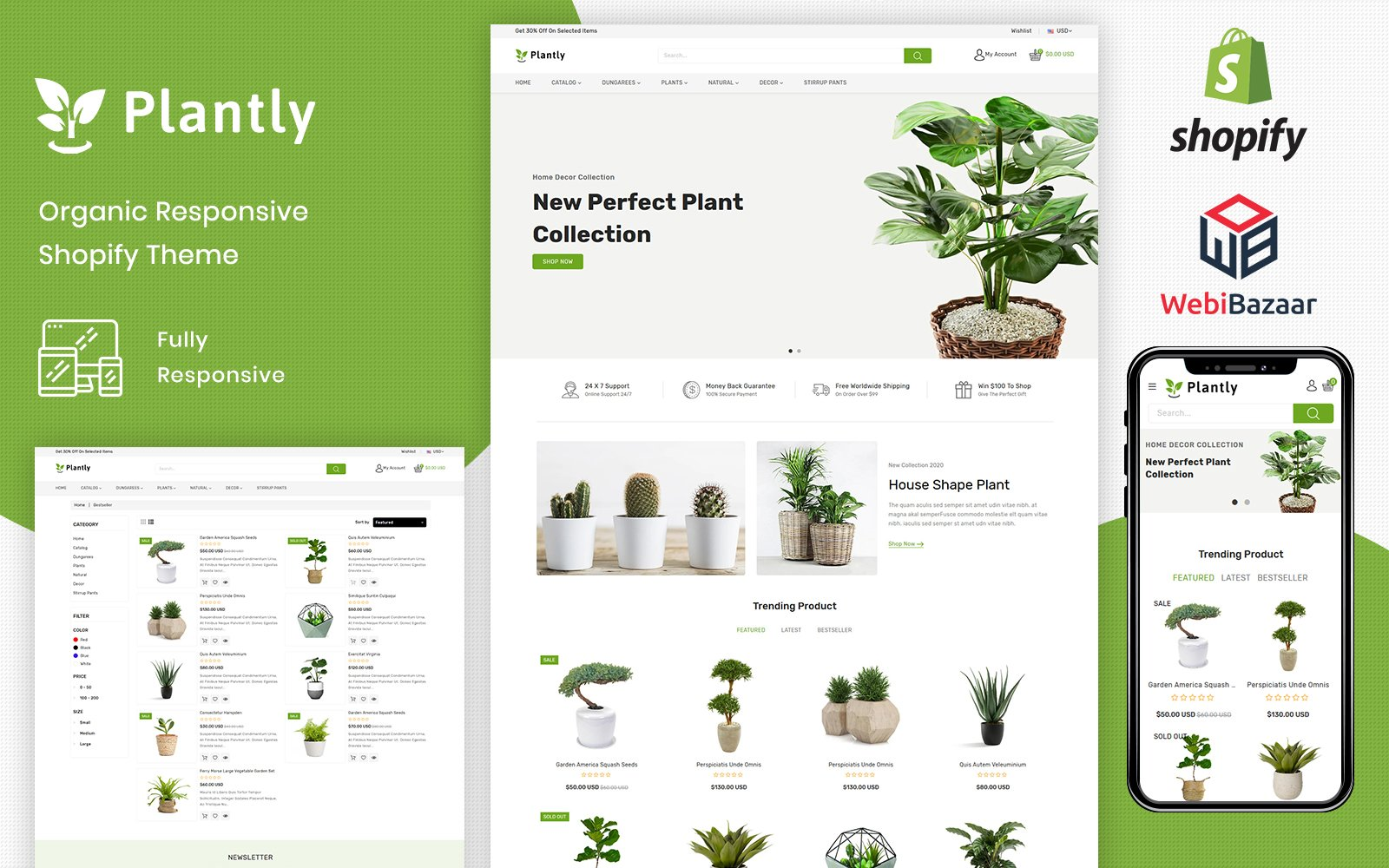"""Plantly - Gardan Furniture Responsive Shopify Template"" BootstrapShopify模板 #102227"