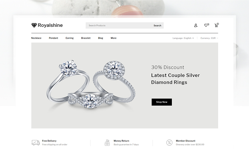 "PrestaShop Theme namens ""Royalshine - Jewellery Store"" #102224"