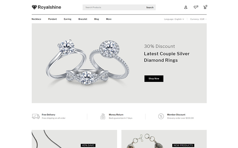 """Royalshine - Jewellery Store"" thème PrestaShop adaptatif #102224"