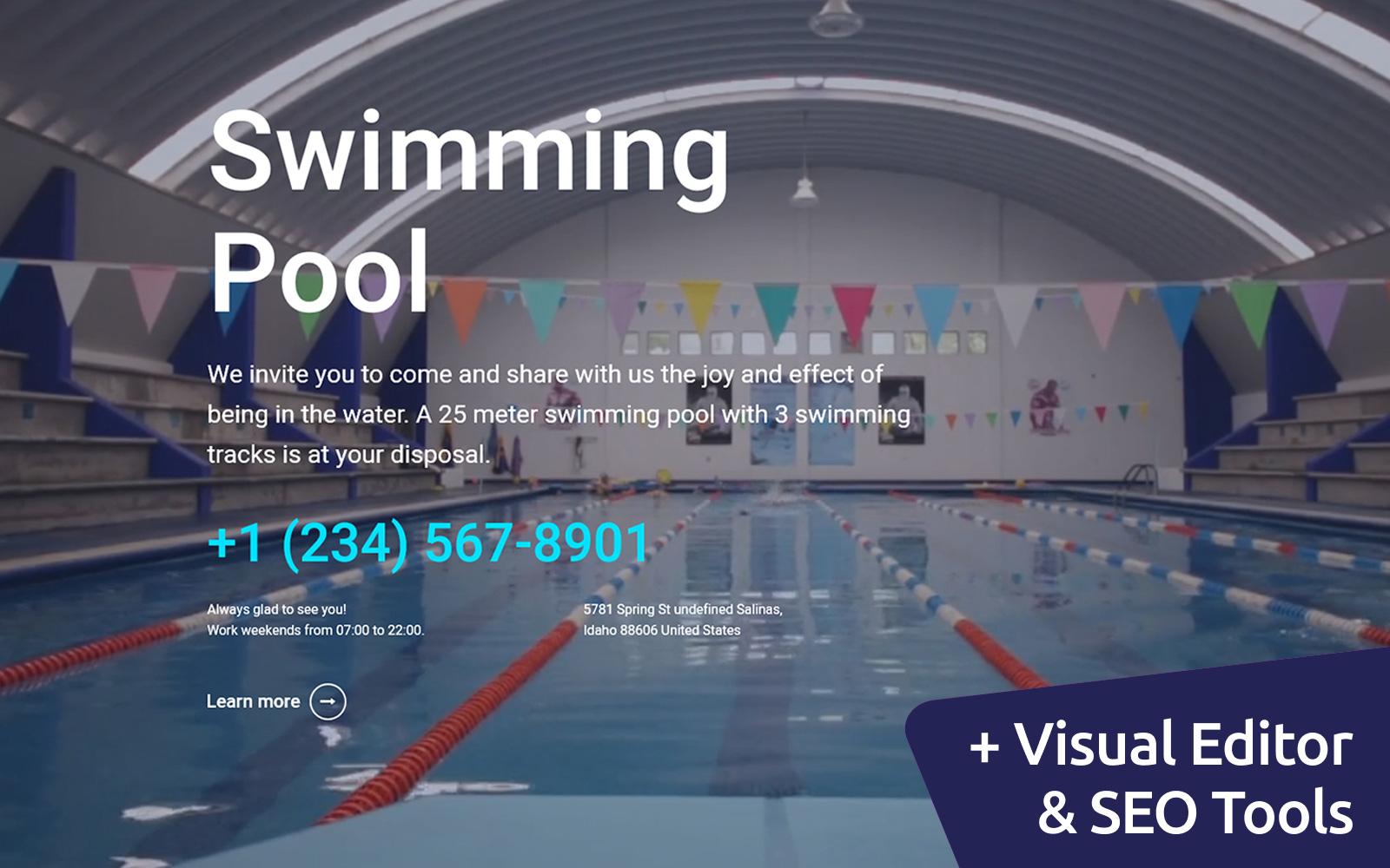 """Swimming Pool"" modèle Moto CMS 3 adaptatif #102221"