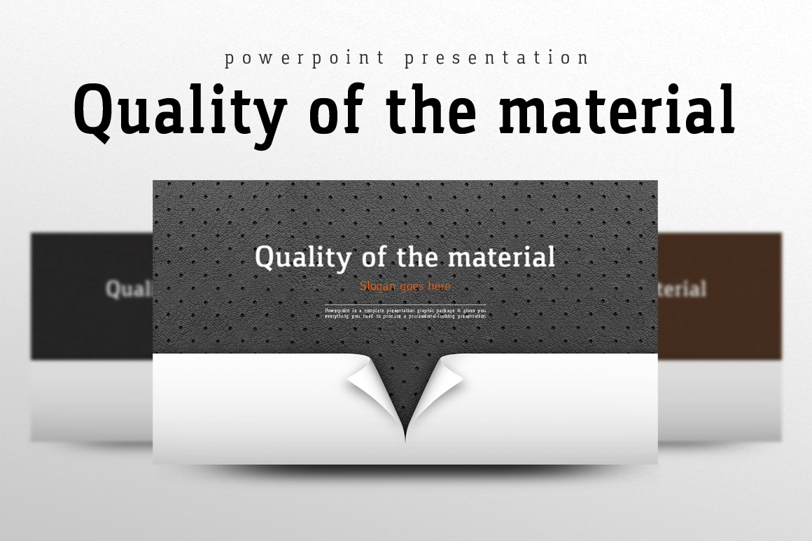 Szablon PowerPoint Quality of the Material #102237