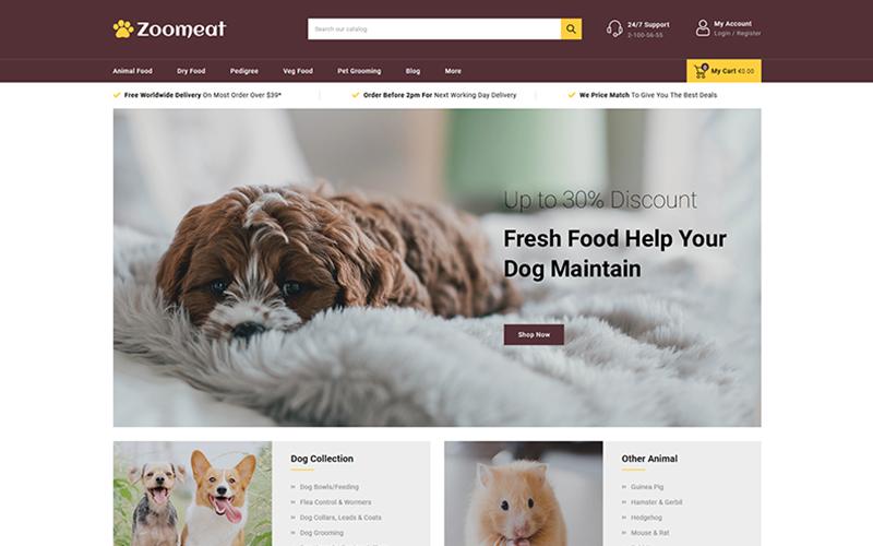 "Tema PrestaShop Responsive #102225 ""Zoomeat - Pets & Animals Store"""