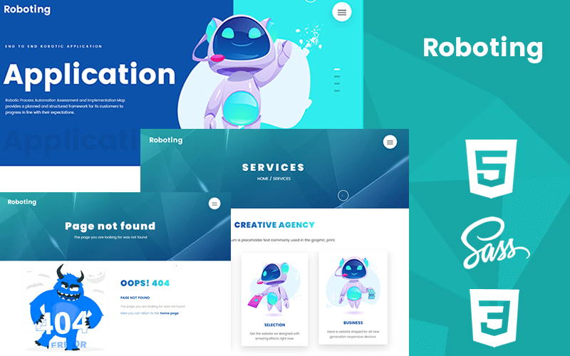 "Website Vorlage namens ""Roboting Creative Html5 & Css3 Responsive Theme"" #102217"