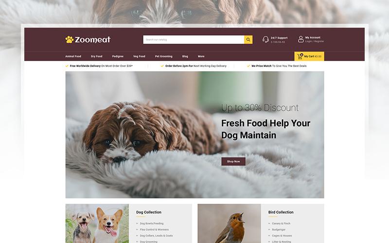 """Zoomeat - Pets & Animals Store"" - адаптивний PrestaShop шаблон №102225"
