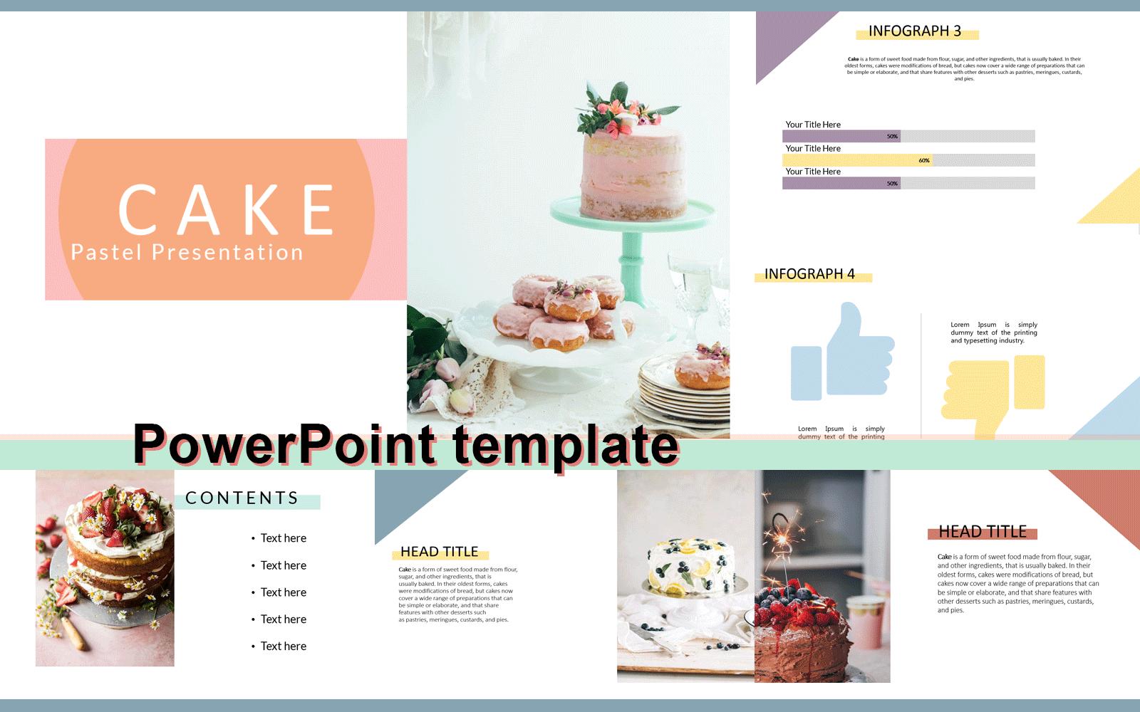 Cake Pastel PowerPoint sablon 102345