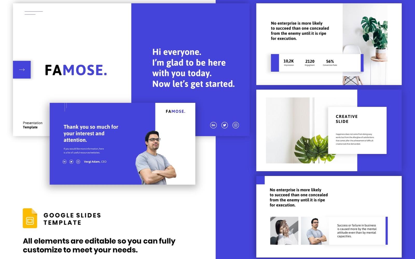 """Corporate Startup - Clean Presentation"" google Slides  #102301"