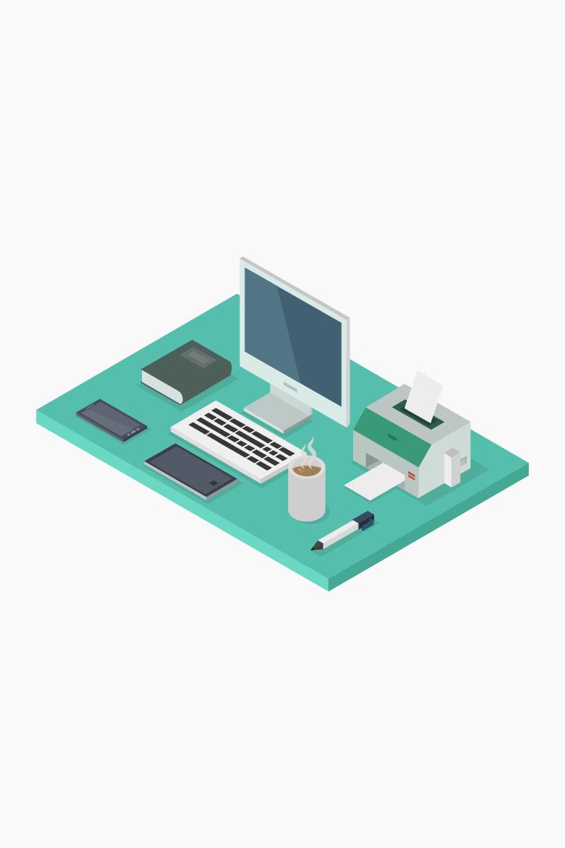 Isometric Office Desk Açıklamalar #102352