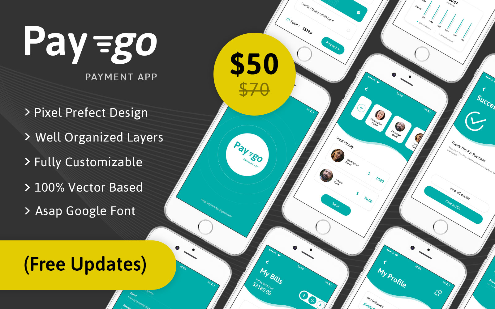 Paygo Payment Mobile App PSD UI Elements