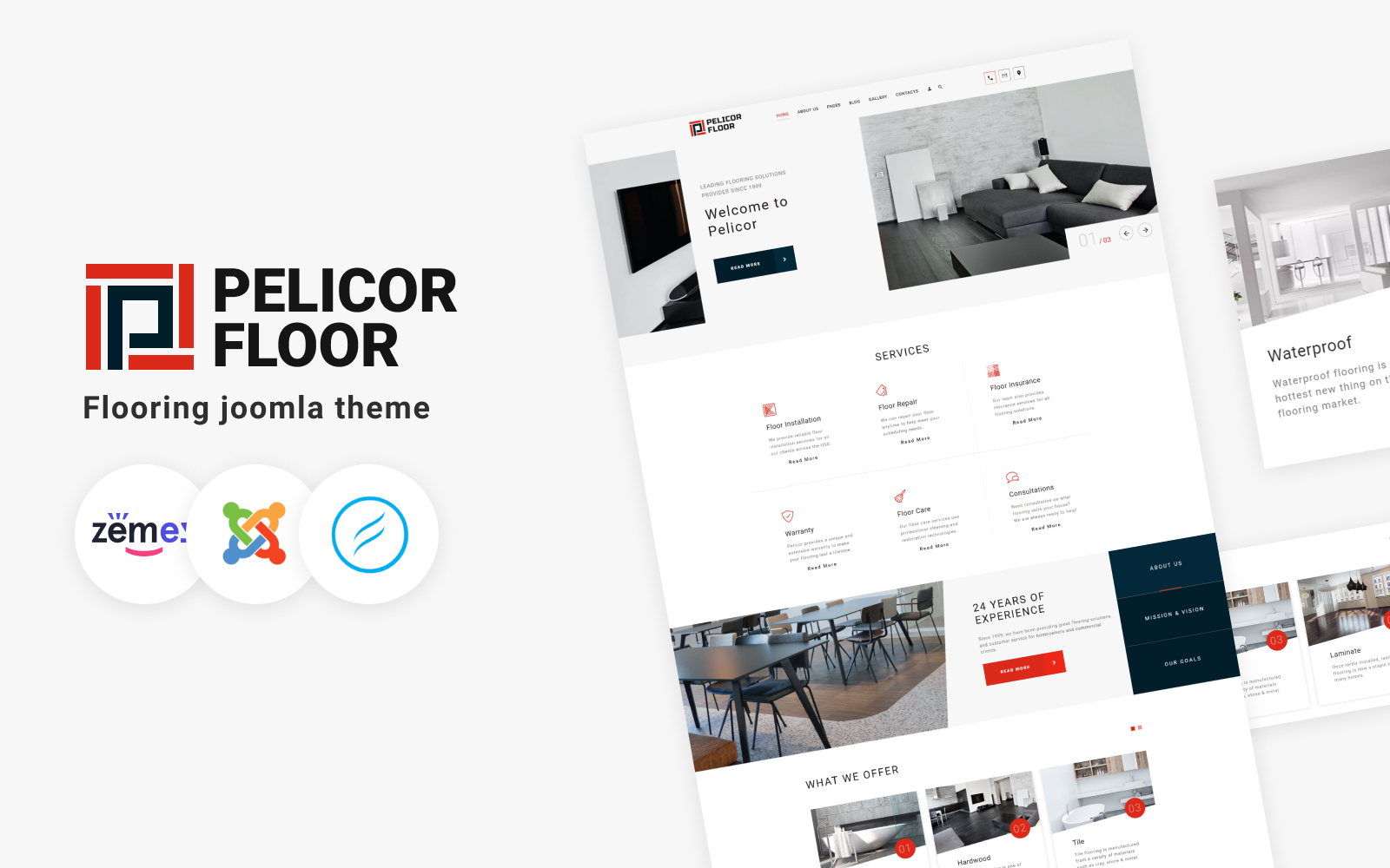 Pelicor Floor - Flooring Multipage Joomla Template