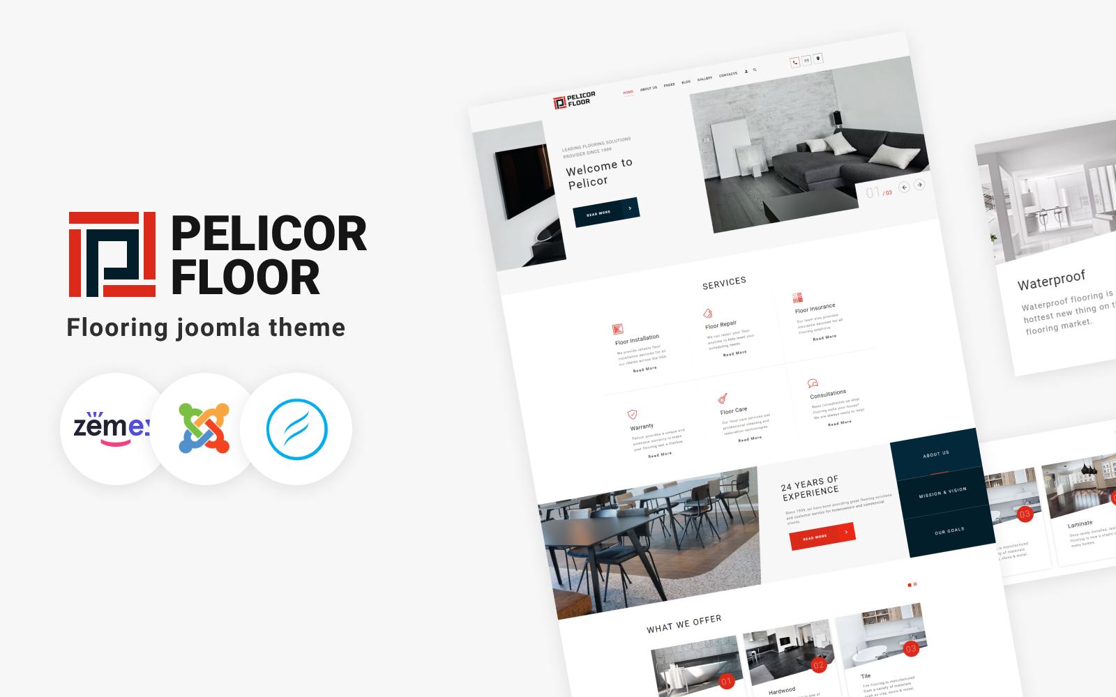 """""""Pelicor Floor - Flooring Multipage"""" Responsive Joomla Template №102355"""