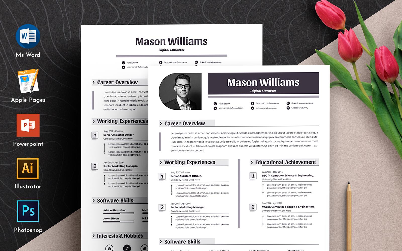"""Plantilla De CV """"Mason Clean Word Pages Cv"""" #102339"""