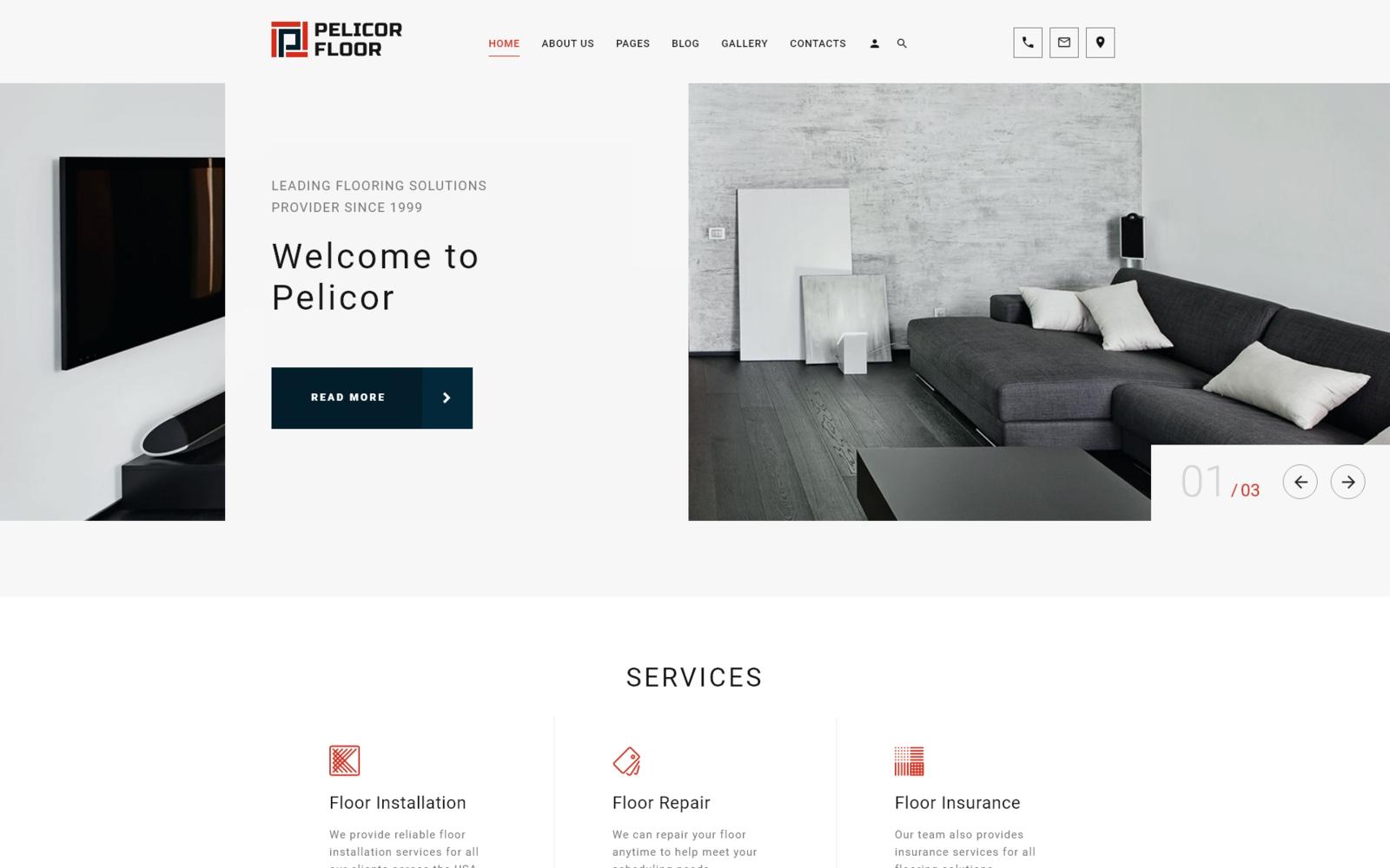 """Plantilla Joomla """"Pelicor Floor - Flooring Multipage"""" #102355"""