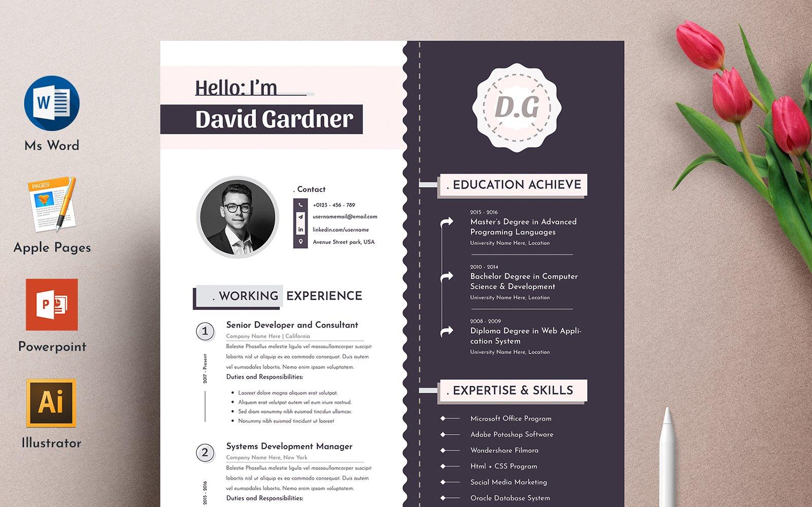 Premium David Modern Word Pages Cv Resume #102340