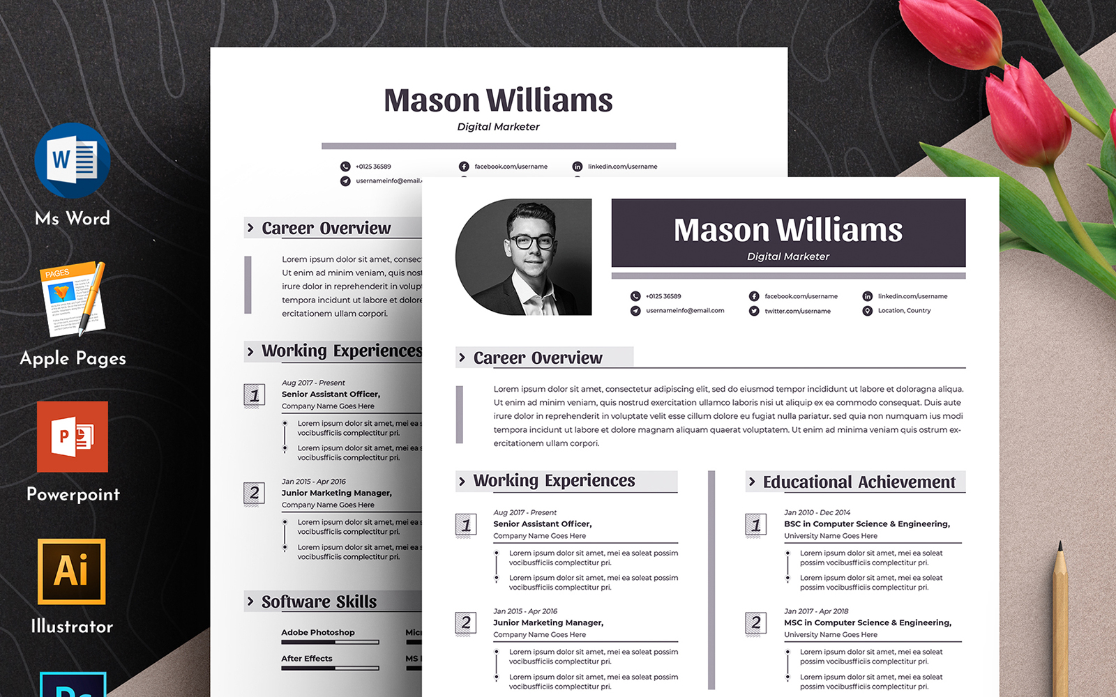 """Tema CV #102339 """"Mason Clean Word Pages Cv"""""""