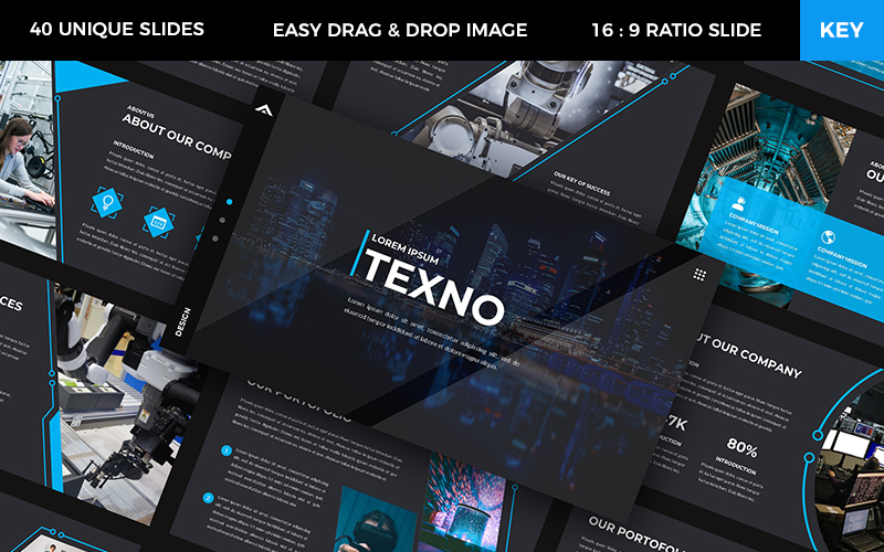 """Texno - Technology"" Premium Keynote Template №102359"