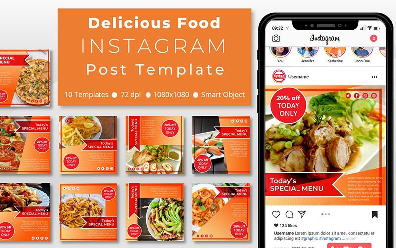 10 Unique Delicious Food Promotional - Instagram Post Template Social Media