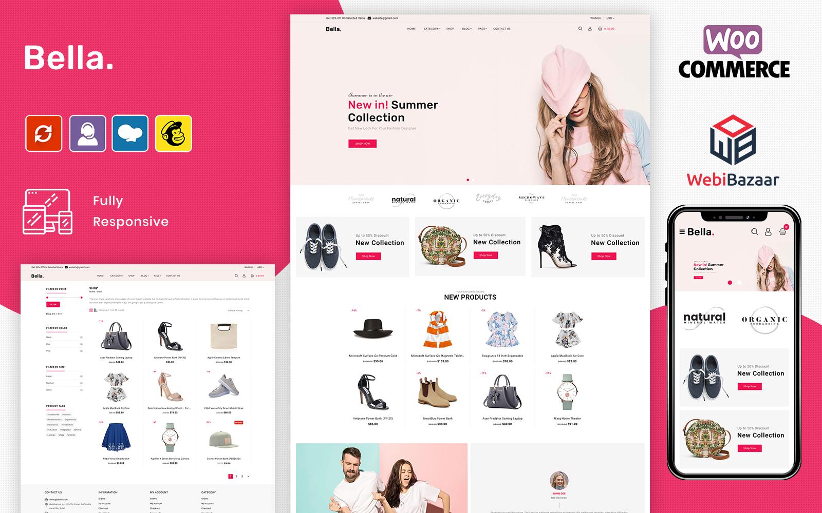 """""""Bella - Fashion eCommerce Store"""" - bootstrap WooCommerce шаблон №102490"""