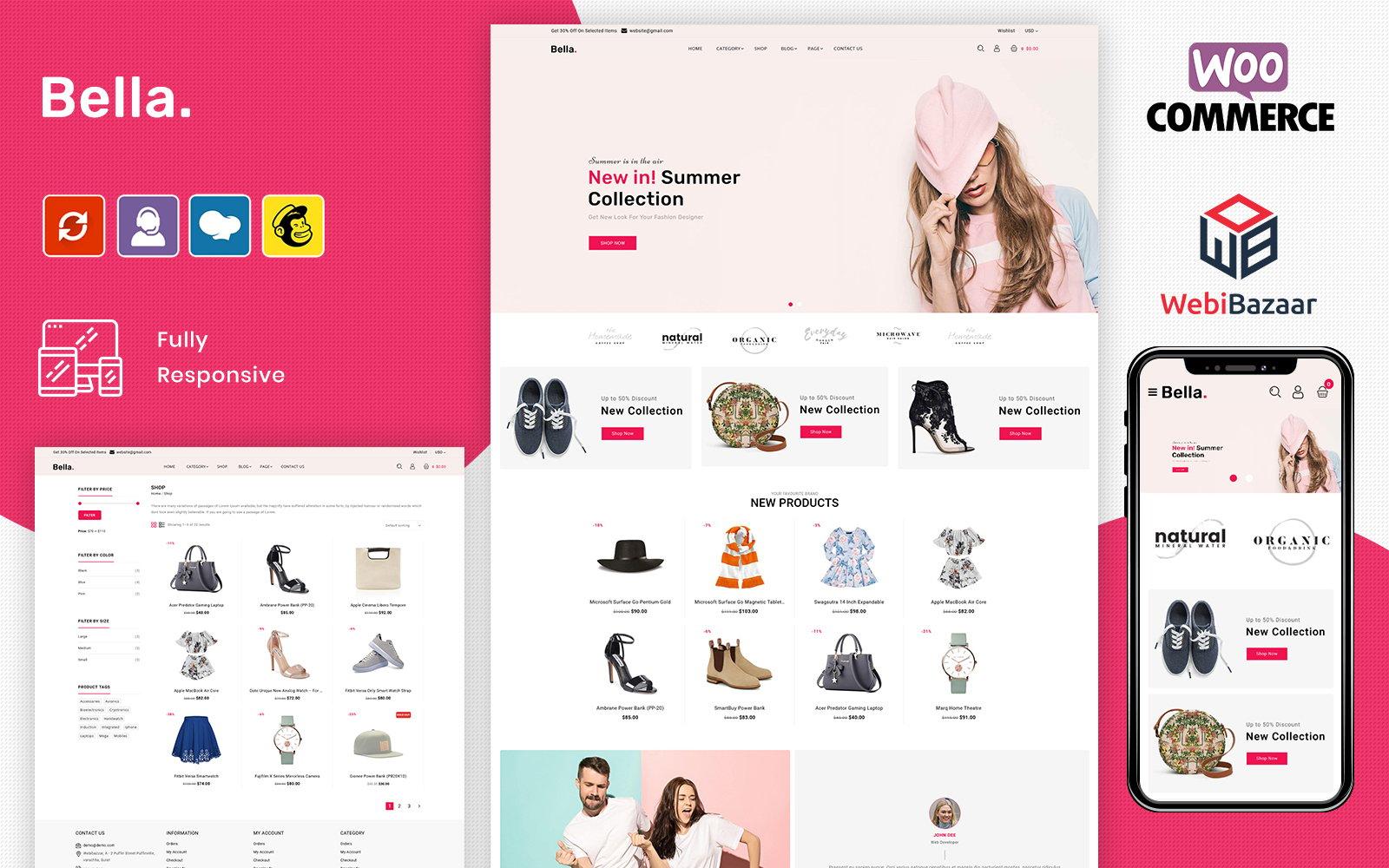 """Bella - Fashion eCommerce Store"" BootstrapWooCommerce模板 #102490"