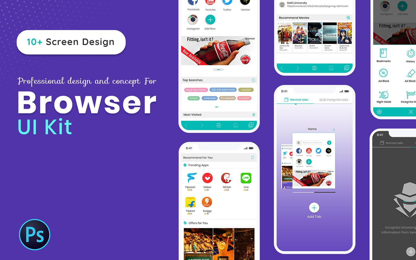 """""""Browser UI Kit"""" Responsive App Template №102485"""