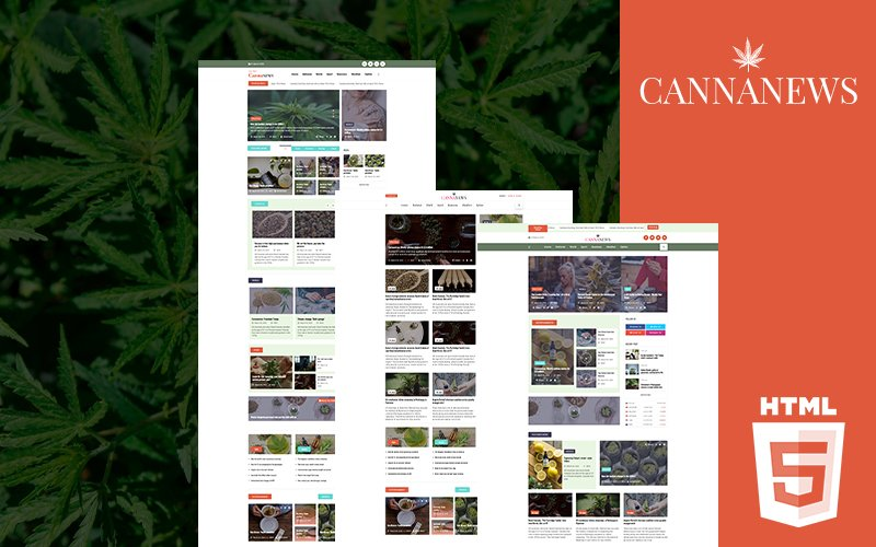 """Cannanews | Cannabis Online Magazine HTML5"" 响应式网页模板 #102489"