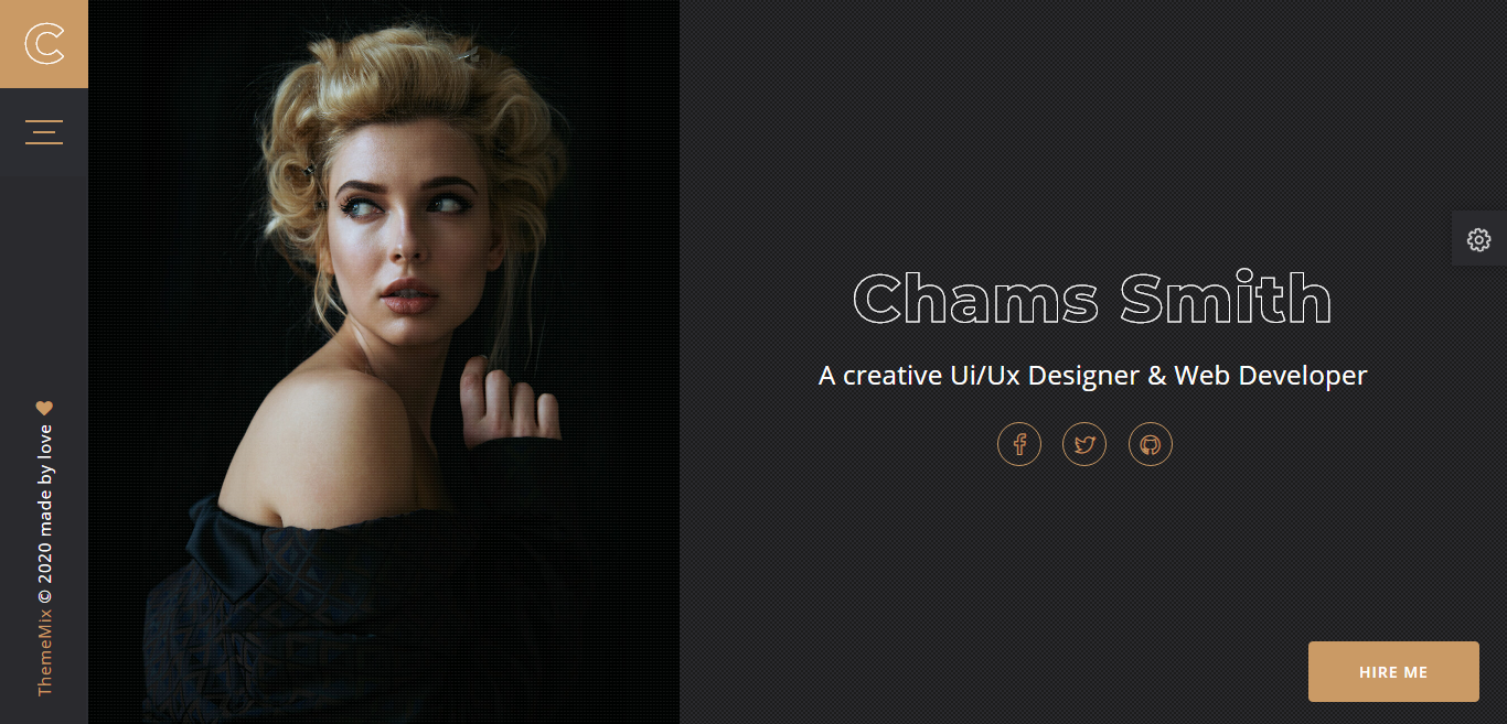 Chams - Personal Portfolio Landing Page Template