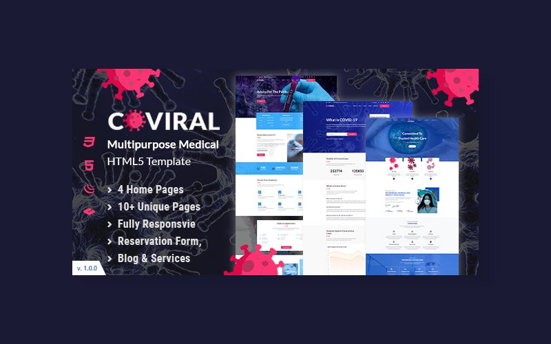 """Coviral | Coronavirus & COVID-19 Prevention"" - адаптивний Шаблон сайту №102405"