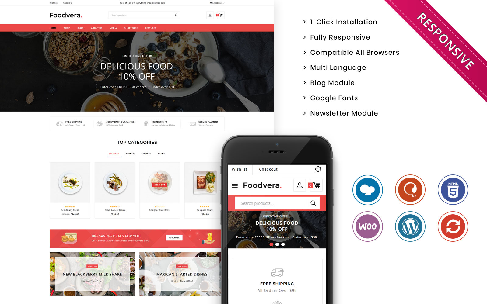 """Foodvera - The Fast Food & Restaurant Store"" - адаптивний WooCommerce шаблон №102493"