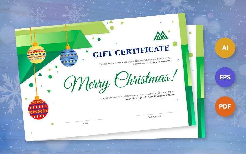 Free Christmas Gift Certificate Template Certificate Template
