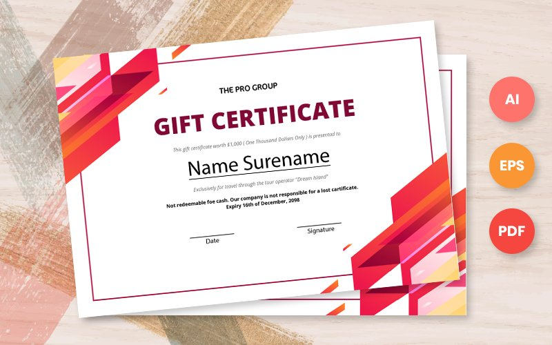 Free gift certificate template Certificate Template