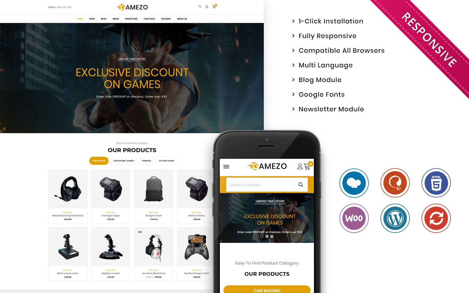 """Gamezo - The Branded Gaming"" Responsive WooCommerce Thema №102406"