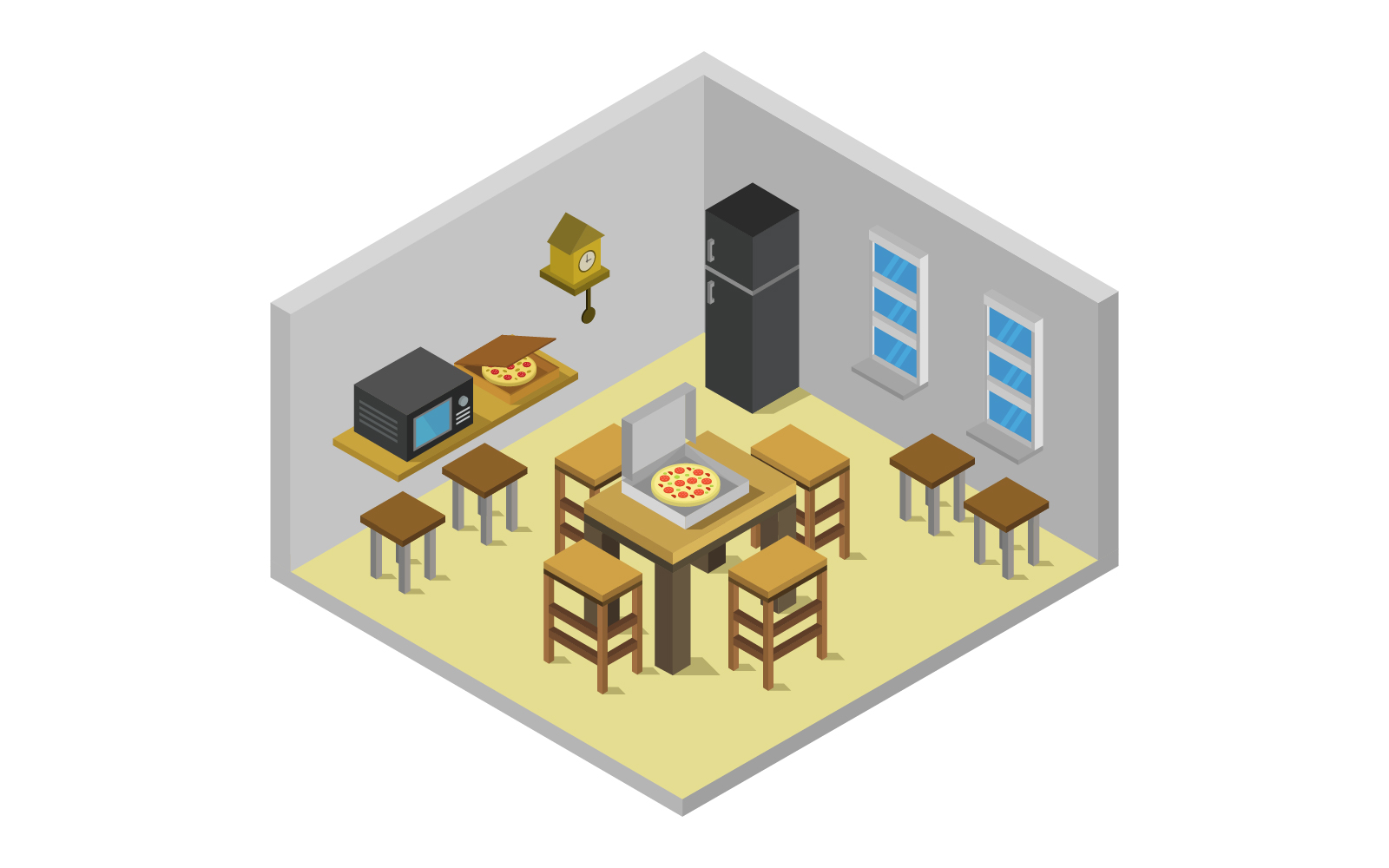 Isometric Kitchen Room on white background Vector