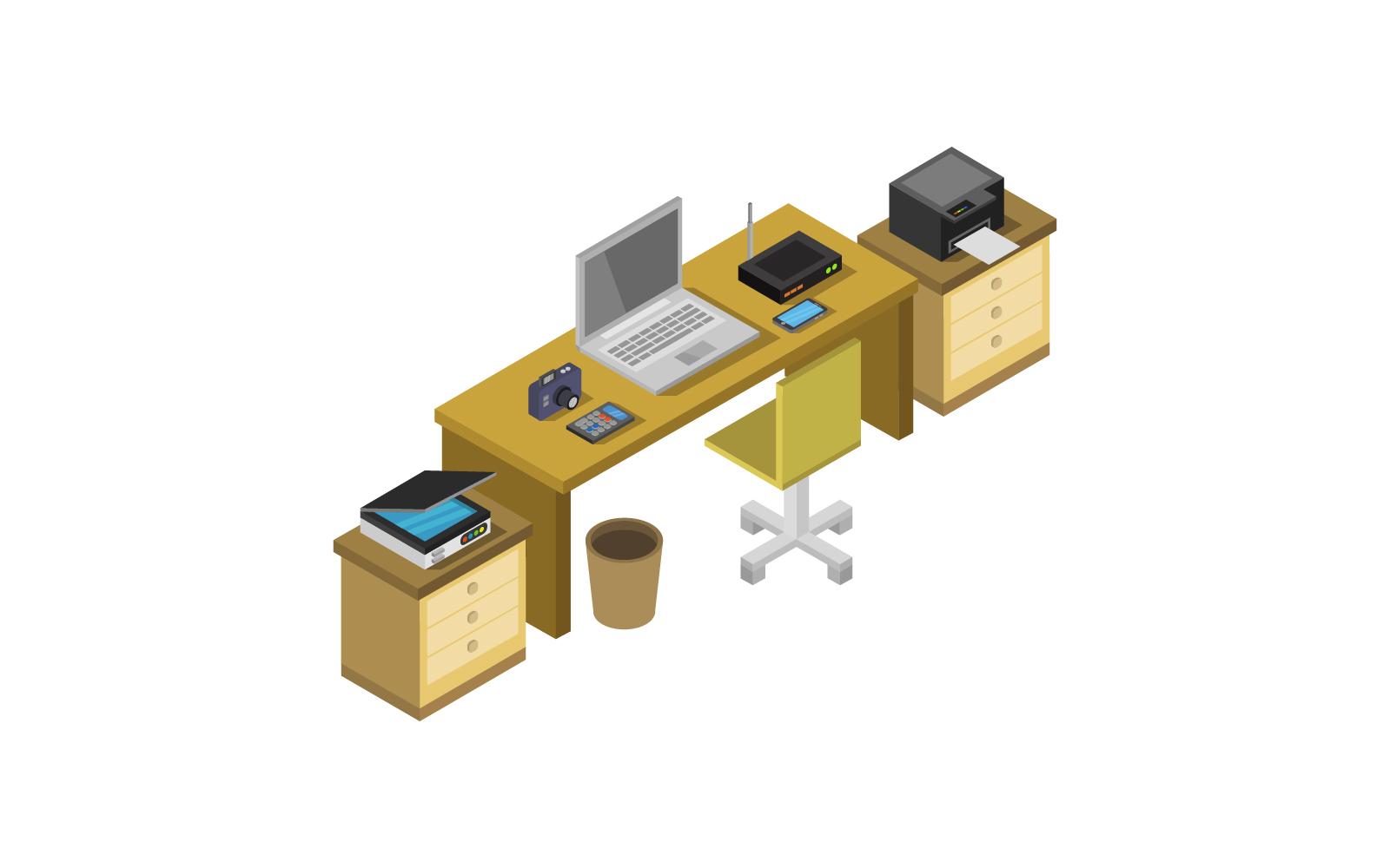 Isometric Office Desk on white background Vector