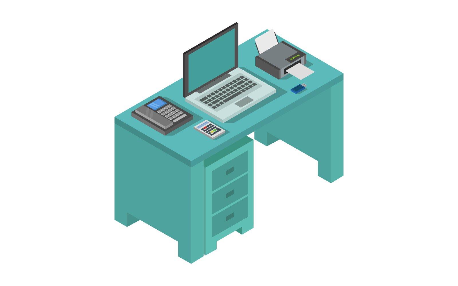 Isometric Office Desk Vector
