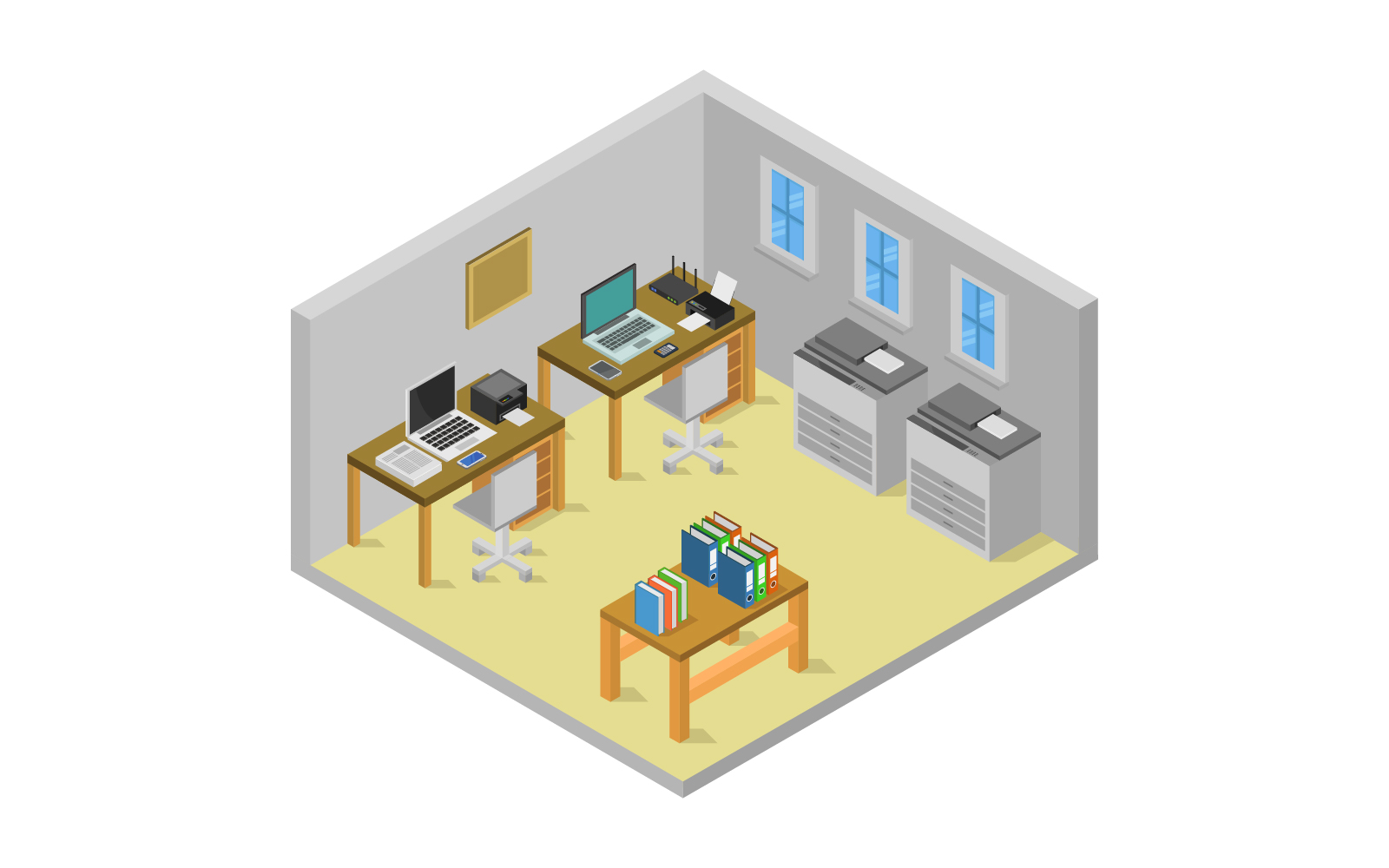 Isometric Office Room Vector
