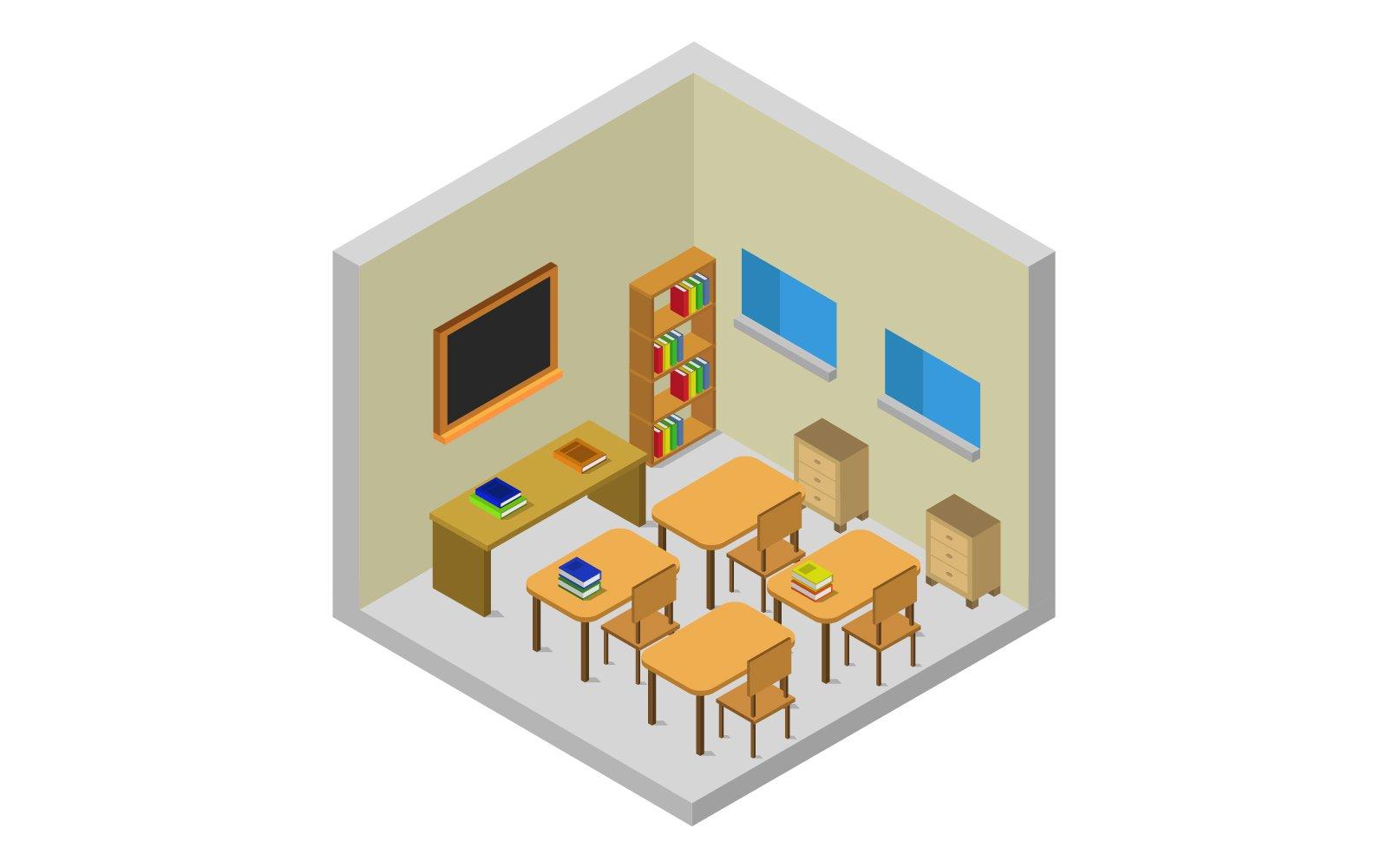 Isometric School Room Vector