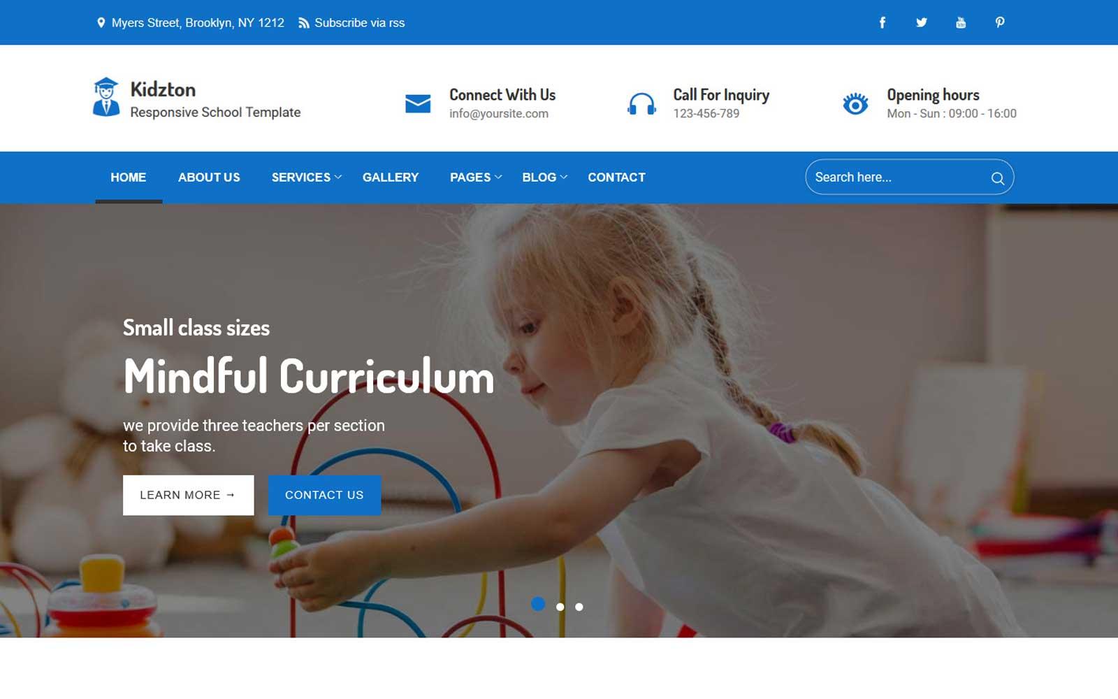 """""""Kidzton - Responsive School"""" Responsive Website template №102407"""