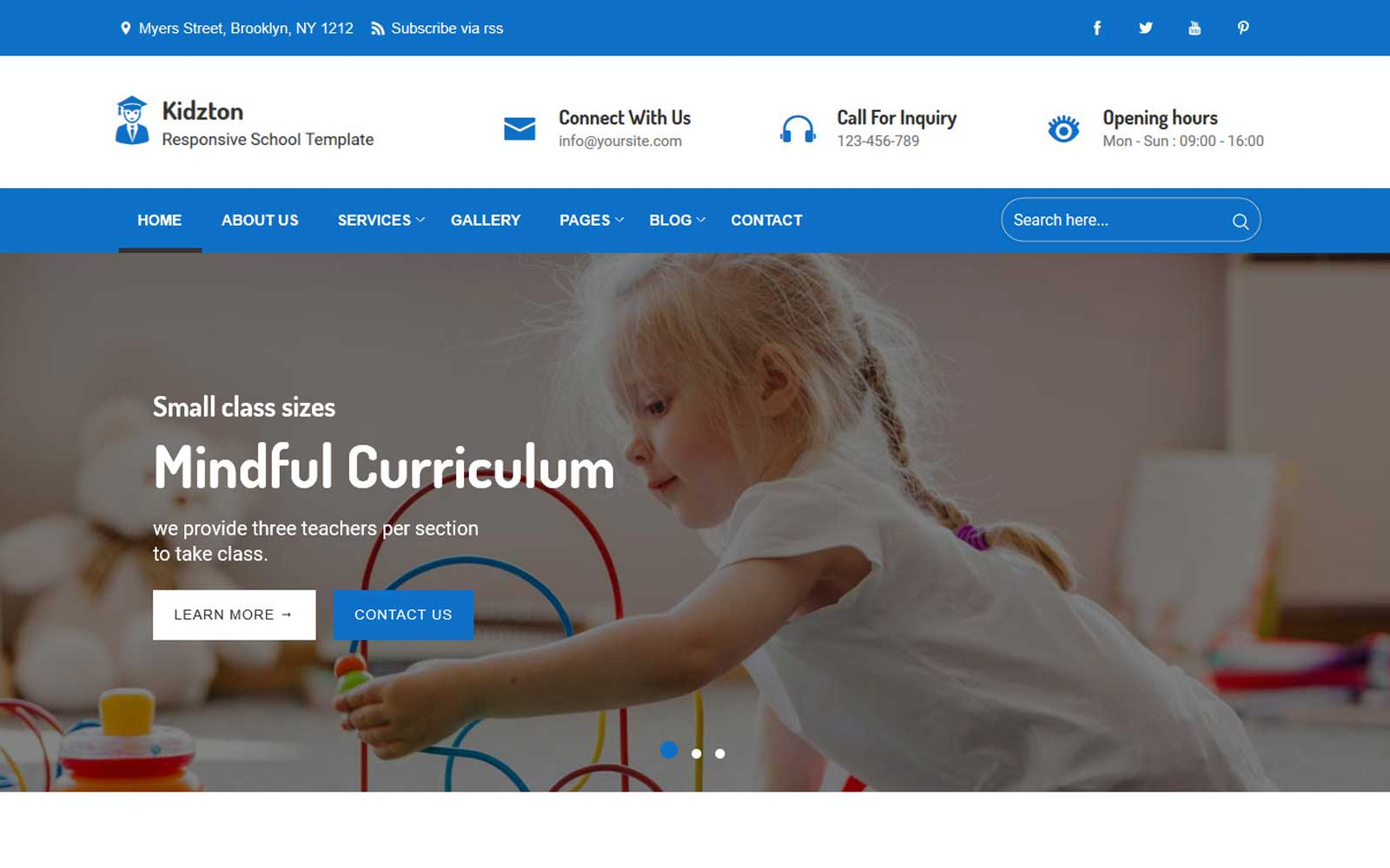 Kidzton - Responsive School Website Template