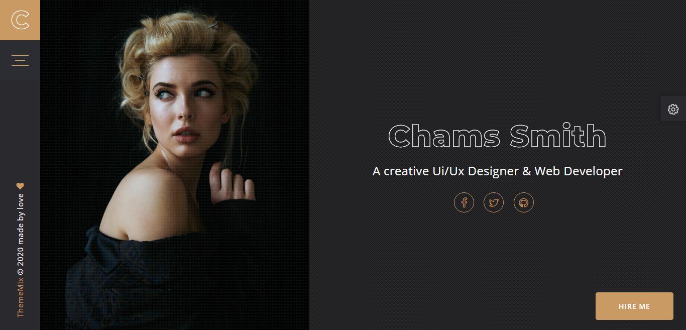 "Landing Page Template namens ""Chams - Personal Portfolio"" #102486"