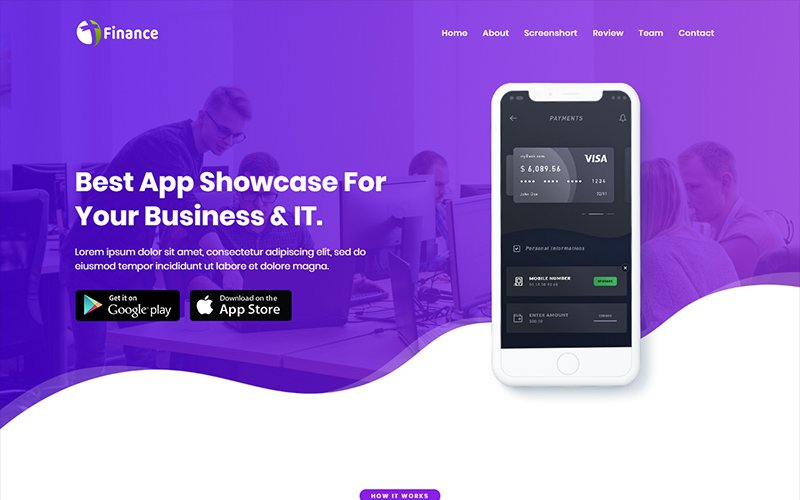 "Landing Page Template namens ""Finance - App HTML"" #102492"