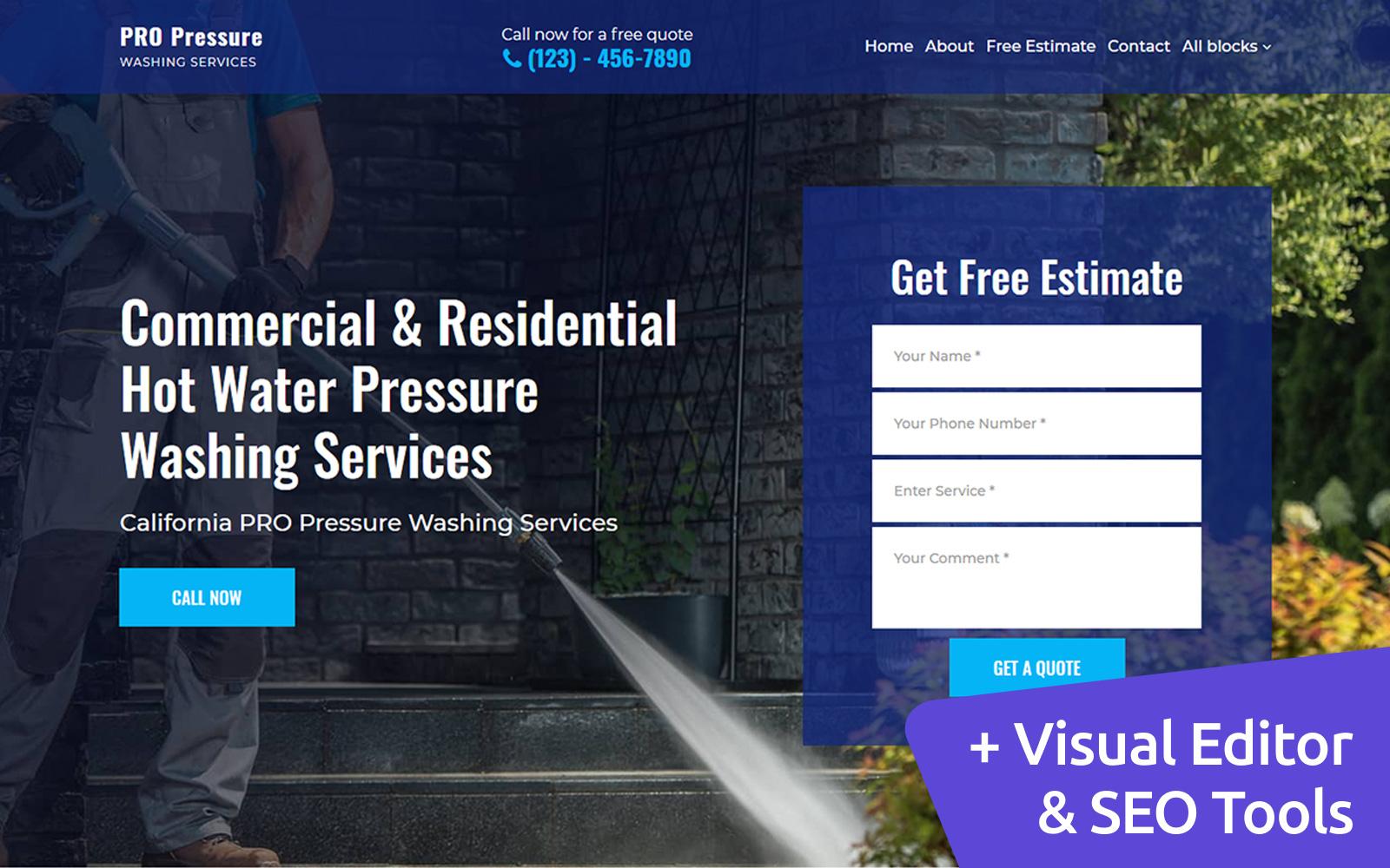 "Landing Page Template namens ""Pressure Washing"" #102408"
