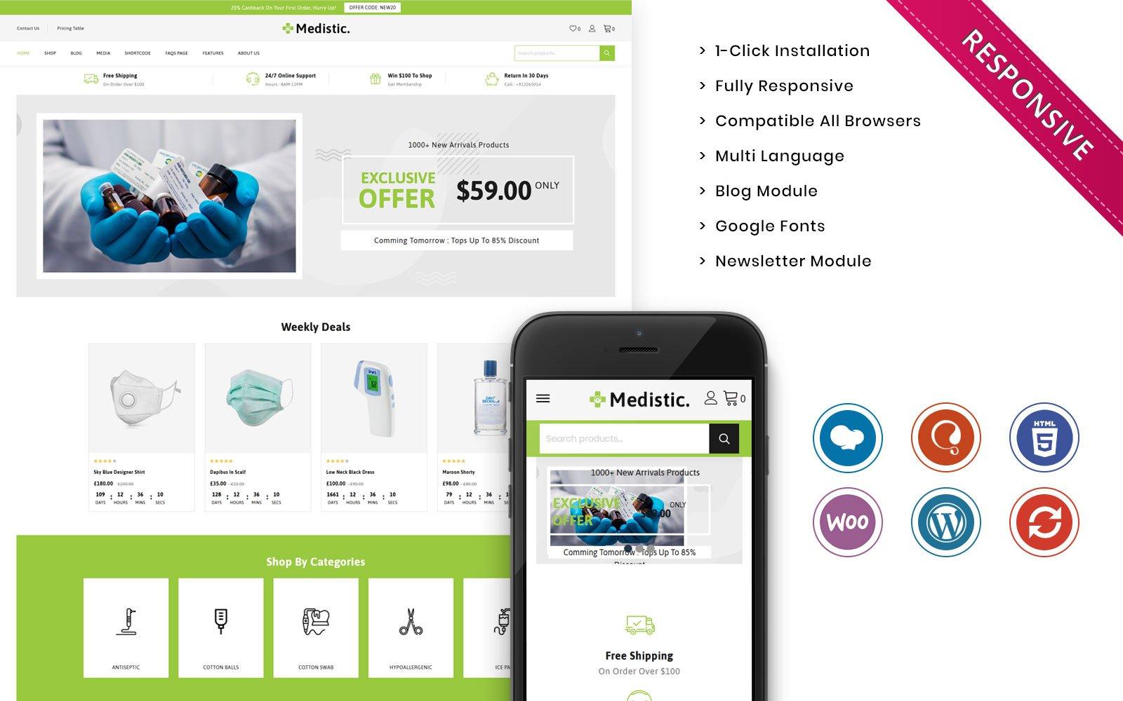 """Medistic - The Premium Medical Store"" - адаптивний WooCommerce шаблон №102404"