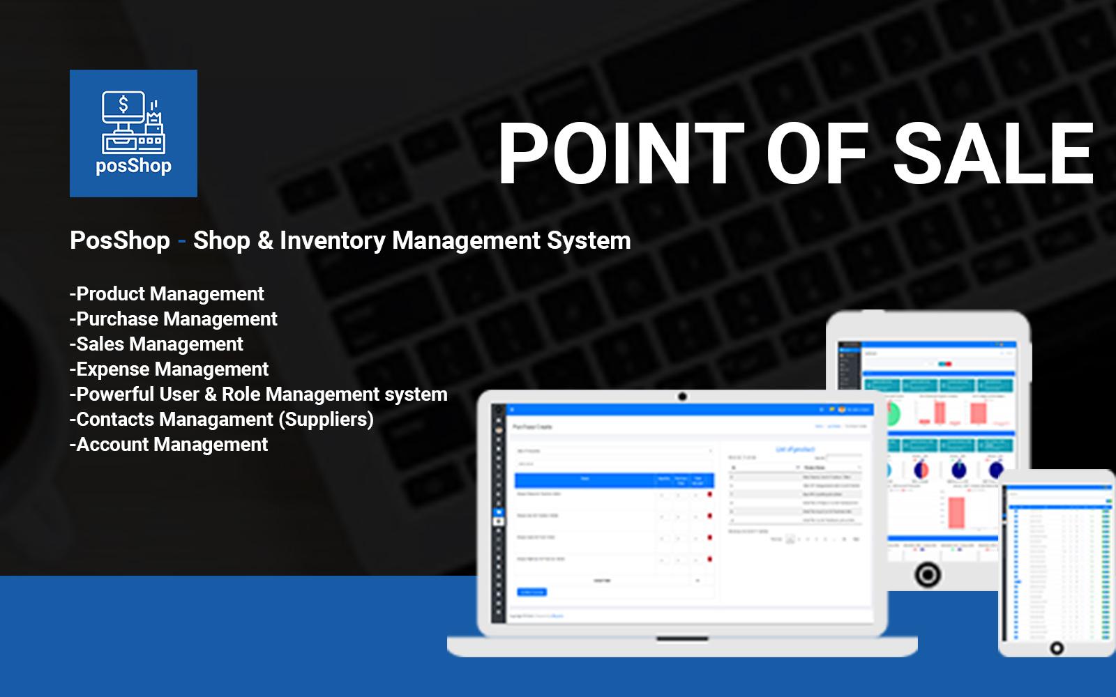 """""""PosShop- Shop & Inventory Management System"""" modèle Admin Bootstrap #102441"""