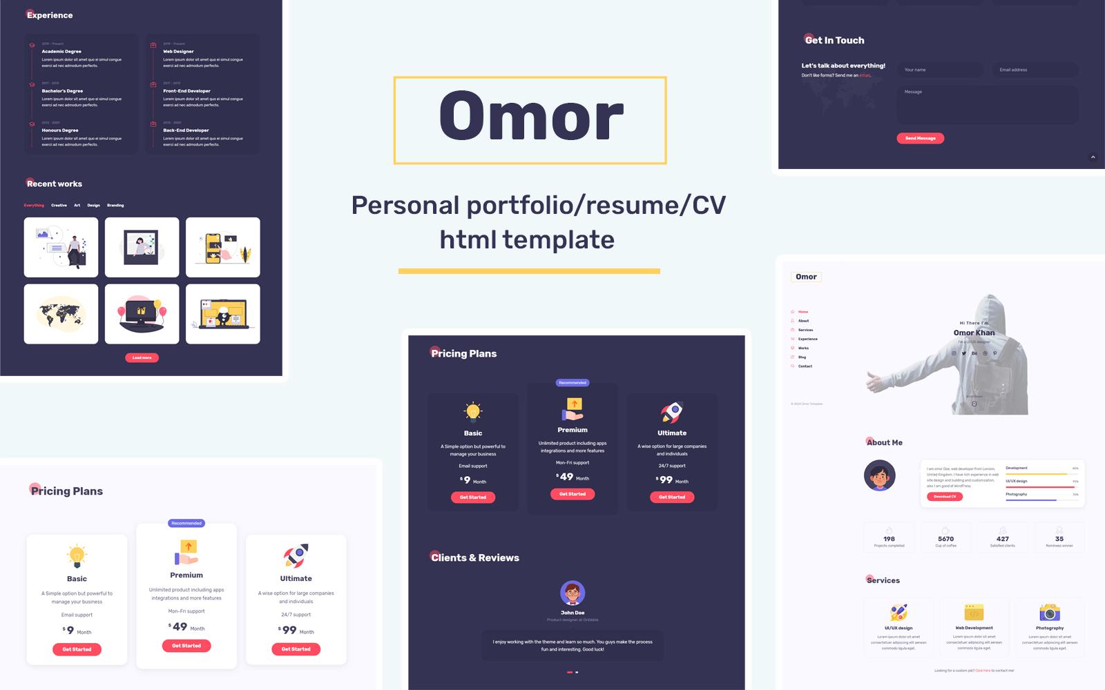 Responsive Omor - Portfolio/CV/Resume Açılış Sayfası #102402