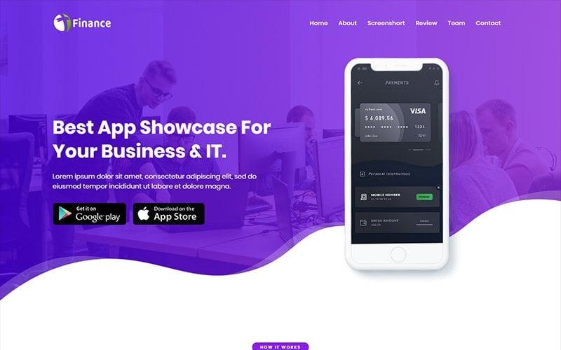 Responsivt Finance - App HTML Landing Page-mall #102492